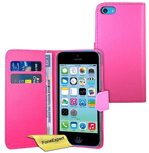 FoneExpert® Apple iPhone 5c - Etui Housse Coque en Cuir Portefeuille Wallet Case Cover pour Apple iPhone 5c + Film de Protection d'Ecran (Noir) Rose