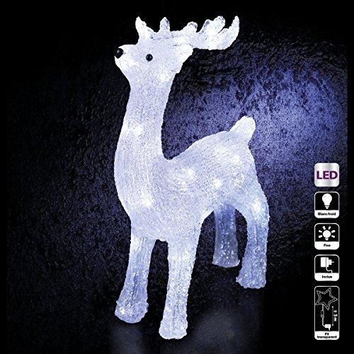 DECORACION DE NAVIDAD - RENO luminoso - efecto escarcha - 40 bonbillas LED  Blancas c82568cc64e