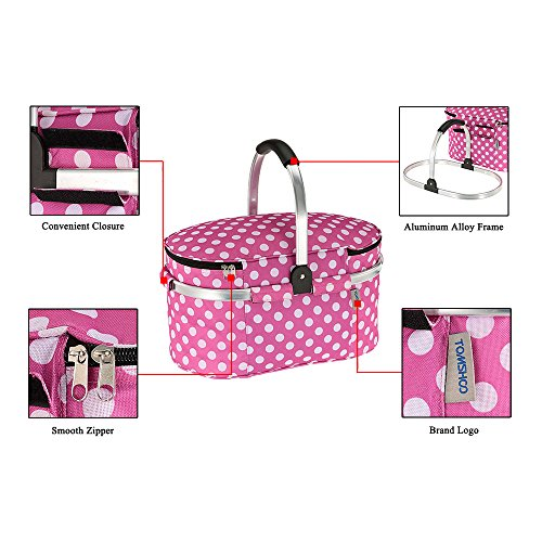 30L Foldable Picnic Basket, Insulated with Folding Aluminum Handle