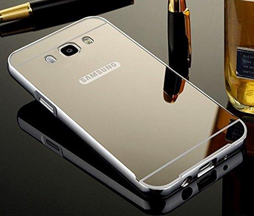 Kapa Luxury Mirror Effect Acrylic back + Bumper Case Cover for Samsung Galaxy J7 - 6 ( 2016 Edition) - Silver