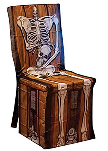 loween Dekoration Skelett Vintage Stuhl Cover Party, 1 Stück, 81x109, Mehrfarbig ()