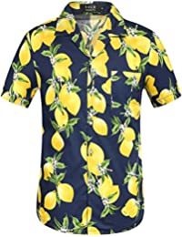 SSLR Chemise Casual Homme Manche Courte Style Hawaïenne Mangue