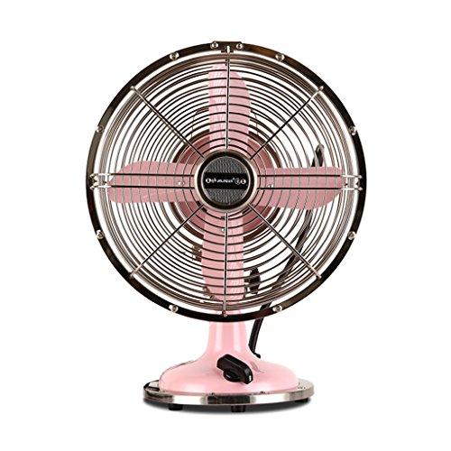 Tischventilator Retro Metal Fan Bronze Elektrischer Ventilator Tischventilator Mini Desktop Compact Fan (Farbe : Rosa, größe : 35 * 41cm) -