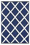 Green Decore Grün Deko-wendbar-leicht Kunststoff Teppich Diamond Navy Blau \ weiß–3x 5ft (90x 150cm), Marineblau/Weiß