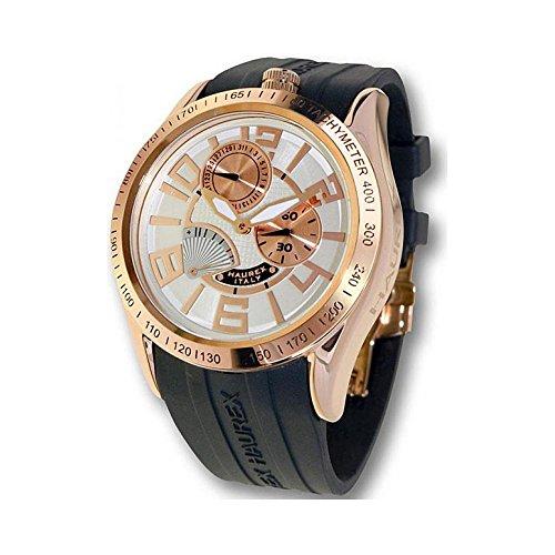 Orologio Haurex BLAZE CR333USH Automatico Acciaio placcato oro rosa Quandrante Bianco Cinturino Caucciu'