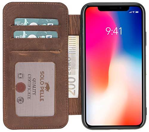 Solo Pelle kompatibel mit iPhone XS Max Hülle Case Lederhülle Ledertasche Wallet Tasche in Vintage Braun Walletbook Case