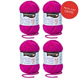 Baby Wolle fuchsia (Fb 1037) * 4x Baby Smiles Merino Wool Schachenmayr (je 25g) * Babywolle - Baby Merino Wolle – Baby Garn – super softes Babygarn Schachenmayr Baby Smiles + GRATIS MyOma Label