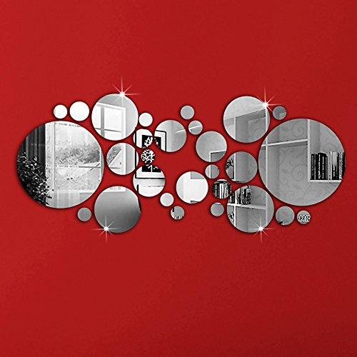 Kompassswc 3D Wandspiegel Selbstklebend Acryl Rund Spiegel Wandaufkleber Wandsticker Zimmer Dekor 30 Stück/Set Ø3cm bis 15cm