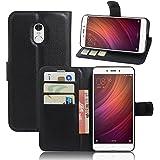 ECENCE Xiaomi Redmi Note 4 / Prime Schutz-Hülle Handy-Tasche Case Cover Book-Case Wallet Brieftasche Book-Style mit Standfunktion Standfuss Schwarz 23020309