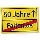 DankeDir! 50 Jahre (Faltenlos) Ortsschild - Kunststoff Schild, Geschenk 50. Geburtstag, Geschenkidee Geburtstagsgeschenk Fünzigsten, Geburtstagsdeko/Partydeko / Party Zubehör/Geburtstagskarte
