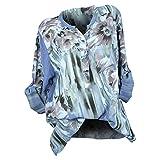ZHRUI Camicia a Maniche Lunghe con Pullover a Maniche Lunghe con Scollo a V con Bottoni Stampati da Donna (Colore : Blu, Dimensione : CN SUK 6)
