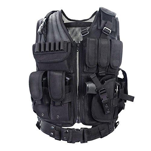 YAKEDA® Outdoor-Ausrüstung taktische Weste taktische Weste Armee Fans Feld für männliche Dschungelabenteuer Bergsteigen - VT-1063 (schwarz) (Recht Hand Bekleidung Herren)