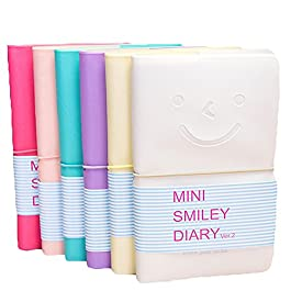 1× cosanter taccuino bel sorriso Pelle Note Book Scratch Pad Smiley Viso Pelle Diario Blocco note settimane formato Calendario