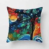 XINGSd 18 X 18 Inch Creative Magic Three-Dimensional Colorful Tree Cushion Hug Pillowcase Linen Waist Cushion Cover(None 1)