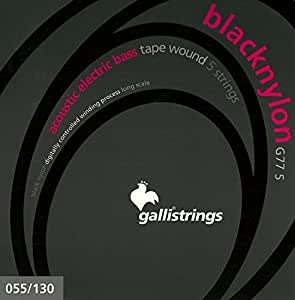 Galli G77-5 BLACK NYLON Acoustic/Electric Bass Tape Wound (5-string)
