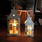 Traumhaftes 2tlg. Laternen-Set H42/57cm mit Tragering Weiß Laterne Gartenlaterne Kerzenhalter Gartenbeleuchtung Windlicht