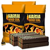 Warma® 500kg Peat Briquettes & 100kg Wood Coal New Smokeless Fuel Provides Long Lasting Burn For Open Fires, Multi-Fuel Stoves & Tigerbox® Safety Matches