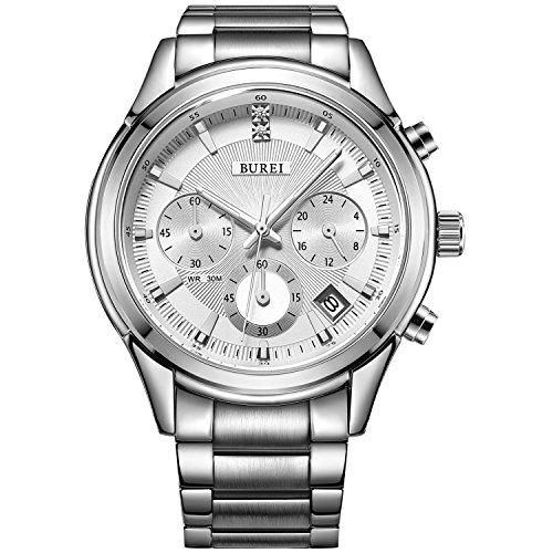 BUREI Montre Homme chronographe Montre Design Classique Montre-Bracelet avec Date Cadran Blanc Bracelet en Acier Inoxydable