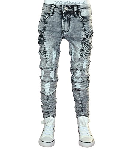 JT-002 SQUARED & CUBED Jeans Hose Junge Kinder light grey 122-170 (12 (ca.146-152)) (Grey Jean Baumwolle Light Denim)