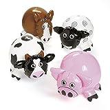 Aufblasbare Bauernhof-Tiere Kuh Schwein Pferd und Schaf 4 Stück Wasserbälle mit Palandi® Sticker