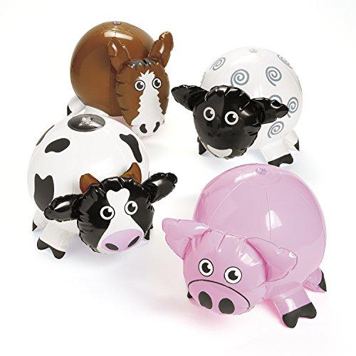 Aufblasbare Bauernhof-Tiere Kuh Schwein Pferd und Schaf 4 Stück Wasserbälle mit Palandi Sticker