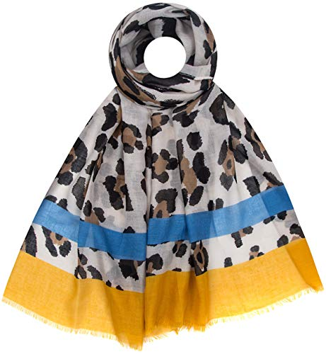 Faera Leoparden Safari Muster weicher und leichter Damen Sommer-Schal Einheitsgröße in verschiedenen Farben, SCHAL Farbe:Gelb
