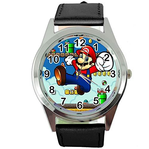 TAPORT® Mario Reloj de Cuarzo con Correa de Piel Negra + batería de Repuesto + Bolsa