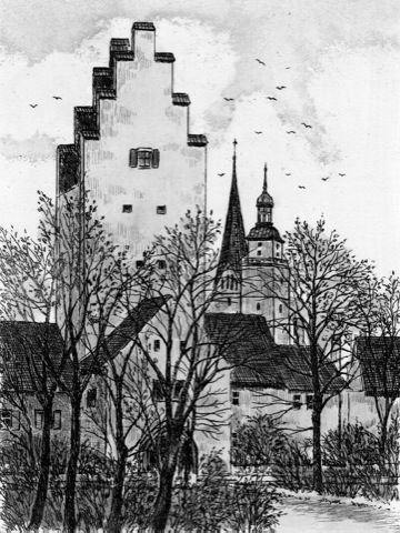 Einfarbige original Radierung Ingolstadt, Taschenturm von Behrens als loses Blatt, Graphik, kein Kunstdruck, kein Leinwandbild
