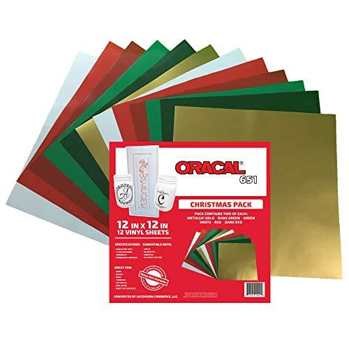 Oracal 651Weihnachten Pack-selbstklebend Craft Vinyl für Cricut, Silhouette, Cameo, Craft, Drucker, und Decals-30,5x 30,5cm (12) Sheets