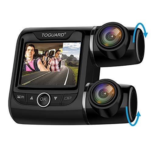 TOGUARD Cámara de Coche Dobles Dashcam 1080P+1080P Full HD 340°Ángulo Cámara para Coche G-Sensor Detección de Movimiento Grabación en Bucle HDR con Visión Nocturna