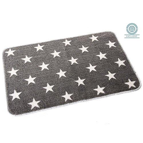 Alfombra de baño gris con estrellas (45x70 cm)
