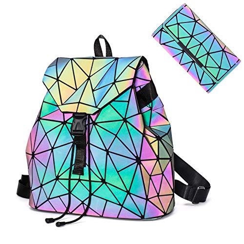 Chenrry Geometrischer Rucksack Geometrisch Holographic Taschen Damen Leuchtend Rucksäcke Reflektierend Festival Tasche NO.2P