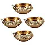 Hashcart (Set Of 4) Handmade Indian Puja Brass Oil Lamp - Diya Lamp Engraved Design Dia - 2.5 Inch