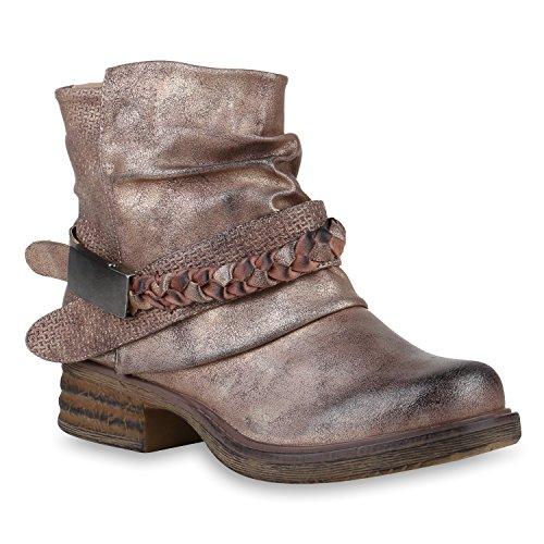 Stiefelparadies Damen Stiefeletten Biker Boots Schnallen Metallic Schuhe 147508 Rose Gold 38...