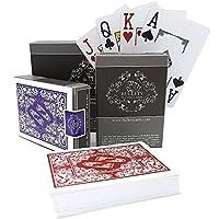 2 barajas de cartas de póker de plástico profesionales, de diseño e impermeables de von Bullets Playing Cards con letras en las dos esquinas - Juego de cartas deluxe con índice Jumbo - Barajas de cartas de póquer profesionales premium para Texas Holdem
