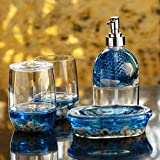 #9: Freelance Eden Acrylic 4 Pieces Bathroom Set-Dispenser, Toothbrush Holder, Tumbler & Soap Dish, Round