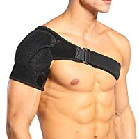 Doact Compression Shoulder Support Brace Adjustable Upper Arm and Shoulder Wrap for Rotator Cuff Shoulder Tear Injury AC Joint Dislocation Prevention and Recovery - Compatible with Hot/Cold Pad