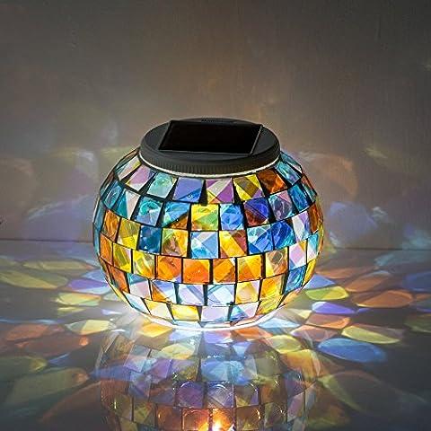GRDE® Lámpara Solar cambiante del Color del Mosaico para Noche, Lámpara Cristal Impermeable para Jardín, Mesa,Decoración Interior (Multi)