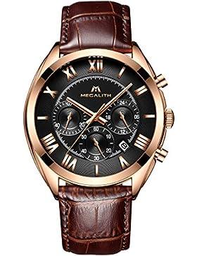 [Gesponsert]Herren Uhren Lederband Männer Chronograph Sport Wasserdicht Datum Kalender Luxus Mode Römische Ziffern Armbanduhr...