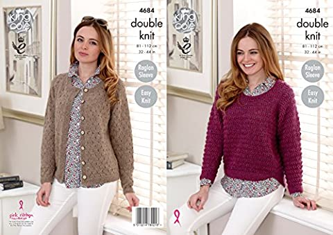 King Cole Ladies Double Knitting DK Pattern Easy Knit Raglan Sleeve Sweater & Cardigan (4684)