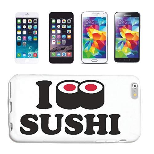 Reifen-Markt Handyhülle HTC M8 I Love Sushi - Reis - ROHER Fisch - ALGEN - STÄBCHEN Hardcase Schutzhülle Handycover Smart Cover für HTC M8 in Weiß