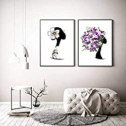 Cuadros modulares Decoración del hogar Pintura Arte de la Pared Mujer Abstracta Flor Margarita Impresiones Cartel de la Lona para la decoración de la Sala de estar-50x70cmx2 Piezas sin Marco