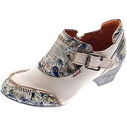 TMA Leder Damen Pumps Echtleder Comfort Schuhe TMA 6166 Halbschuhe Boots Weiß Creme Gr. 40