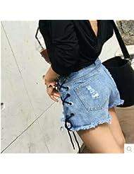 LEYAN-El agujero lateral cintura fina correa Loose jeans shorts shorts en verano,L,Azul