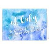 Große Design Glückwunsch-Karte XXL (A4) zur Geburt, Motiv: Aquarell Look modern blau - Junge Sohn/mit Umschlag/Edle Klappkarte/Maxi Gruß-Karte/Baby geboren/Gratulation Eltern