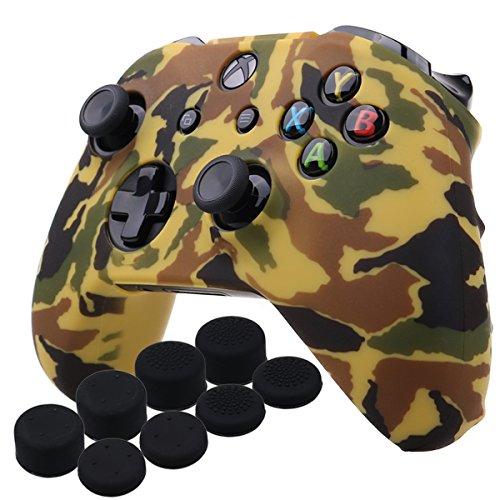 Preisvergleich Produktbild YoRHa Wassertransferdruck Silikon Hülle Abdeckungs Haut Kasten für Microsoft Xbox One X & Xbox One S controllerx 1 (Orange) Mit PRO aufsätze thumb grips x 8