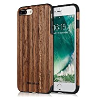 Mthinkor iPhone 8 Plus Case iPhone 7 Plus Case Soft Wood Slim Perfect Fit Case for iPhone 7 Plus and iPhone 8 Plus (Red Sandalwood)