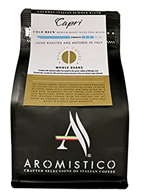 AROMISTICO | Capri Cold Brew | Premium Italian Roasted Whole Coffee Beans | Gourmet Italian Summer Blend Especially for Cold Brewing | Refreshing, FLAVOURFUL & Milk Chocolate-Like from Arca S.r.l.