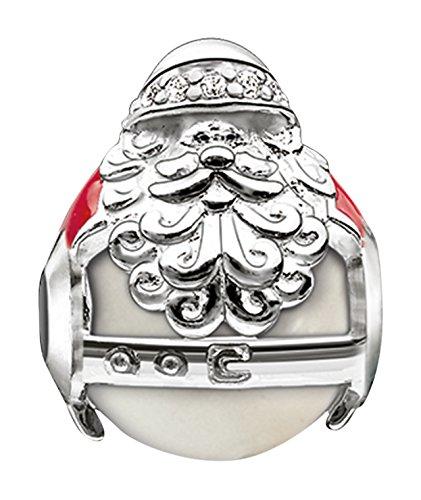 Thomas Sabo Damen-Bead Weihnachten Karma Beads 925 Sterling Silber rot Zirkonia weiß Süßwasserzucht-Perle K0185-149-27