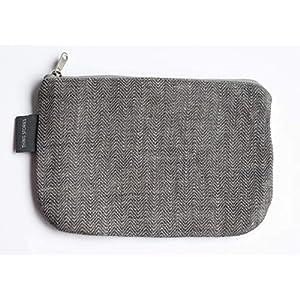 Kleine Graue Schminktasche - Doppellagige 100% Leinen - Kleine Leinwand Reißverschlusstasche - Lippenstift Tasche - Kupplung Geldbeutel - Federmäppchen | Handgefertigte durch ThingStories